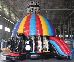 Disco springkasteel + glijbaan (diameter 5 m) overdekt